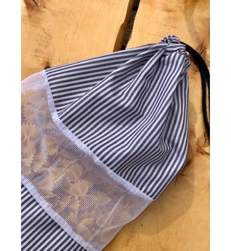 Wielorazowy worek AKUKU szare pasy bawełna 100%
