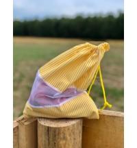 Wielorazowy worek AKUKU żółte pasy bawełna 100%