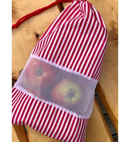 Wielorazowy worek AKUKU czerwone pasy bawełna 100%
