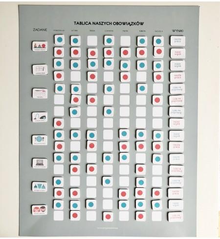 TABLICA NASZYCH OBOWIĄZKÓW + 181 piktogramów magnetycznych